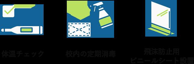 体温チェック 校内の定期消毒 飛沫防止用ビニールシート設置